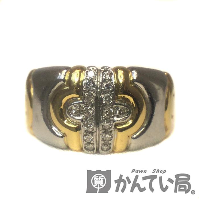 K18 Pt900 ダイヤモンド コンビ リング 指輪 12号 ダイヤ 0.12ct イエローゴールド プラチナ 18金 レディース ジュエリー プレゼント 【USED-B】