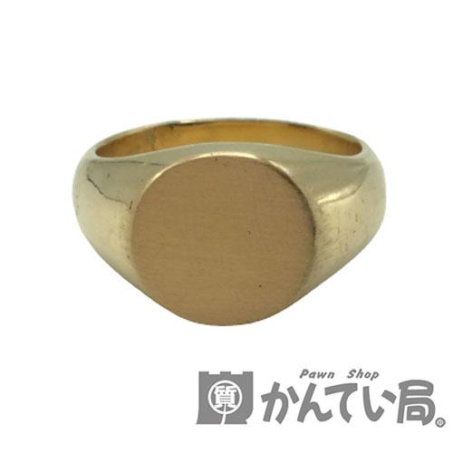 丸印台 地金しっかり K18 リング 約14.5g 約18号 USED-AB 期間限定今なら送料無料 指輪 中古 シンプル 人気ブレゼント 地金リング メンズ