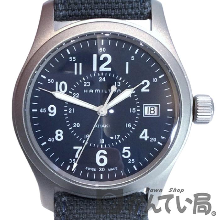 送料無料 中古 HAMILTON ハミルトン H68201943 カーキ フィールド 38mm Quartz 腕時計 USED-SA レザー 2020 クオーツ メンズ 3針 アナログ ステンレススチール キャンバス ブルー系 正規激安 ミリタリー