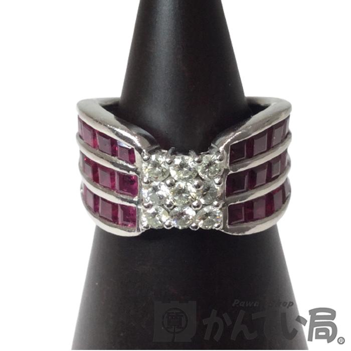 送料無料 Pt900 ルビー ダイヤモンド リング 引き出物 限定品 指輪 プラチナ 10号 レディース 幅広 ファッションリング USED-B プレゼント