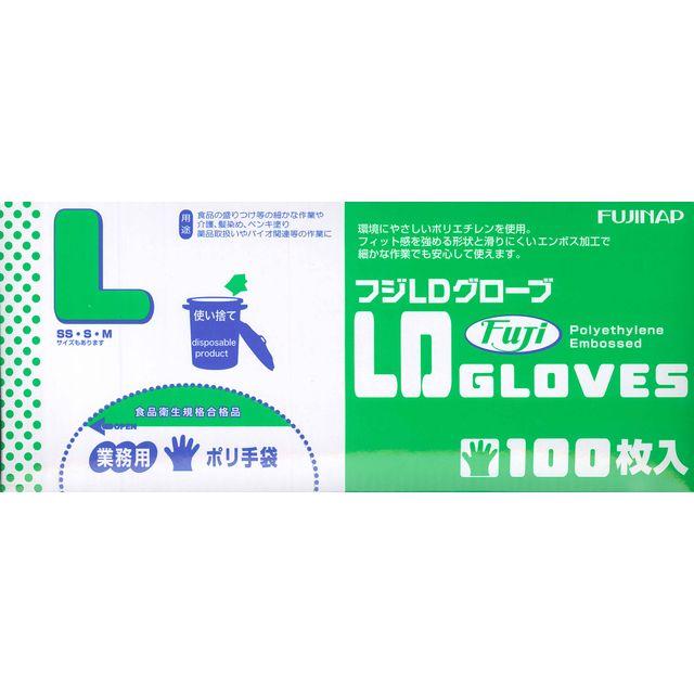 【送料無料】業務用ポリ手袋 ホワイトグローブ L 100枚入 1ケース[40箱入]