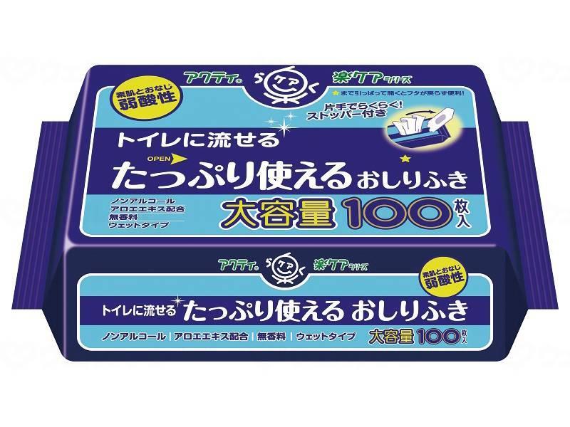 片手でラクラク取り出し口ストッパー機能つき 日本製紙クレシア アクティ Tトイレに流せるたっぷり使えるおしりふき 100枚入