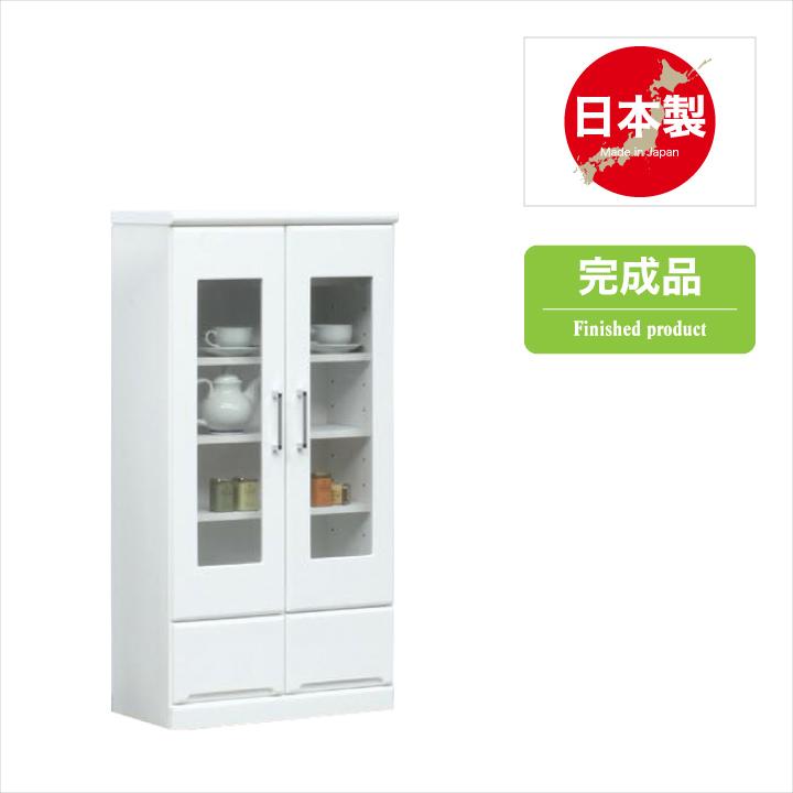キャビネット 60 完成品 日本製 サイドボード リビング収納 リビングボード 木製 鏡面 ホワイト 開き扉 ガラス扉 シンプル 収納 リビング 白 引き出し 幅60 高さ118 送料無料 通販