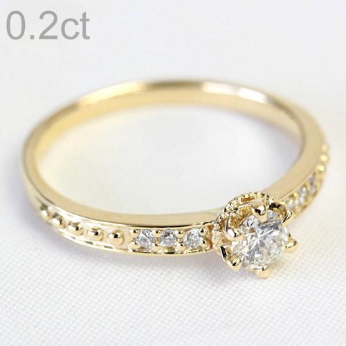 K18 ダイヤモンド リング 0.2ct <クラウンデザイン>