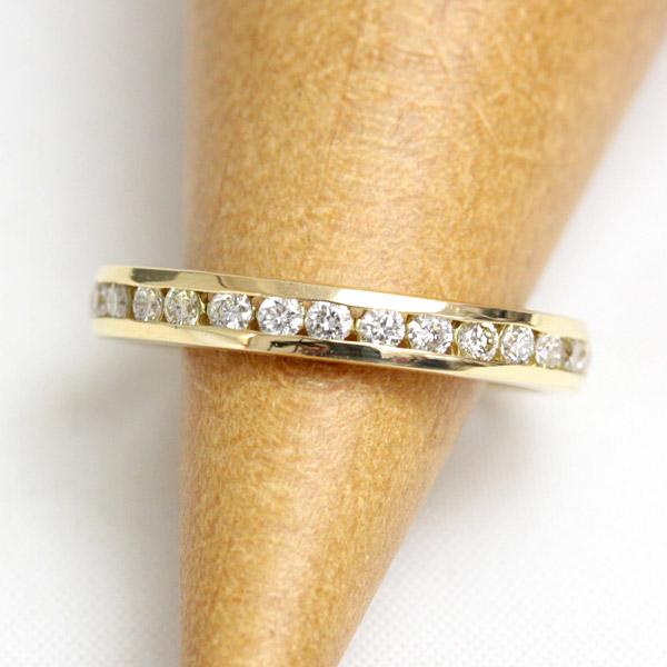 K18 18金 リング ダイヤモンド ピンキーリング レールエタニティー 0.21ct ダイヤ リング SIクラス 小指 【文字入れ不可】