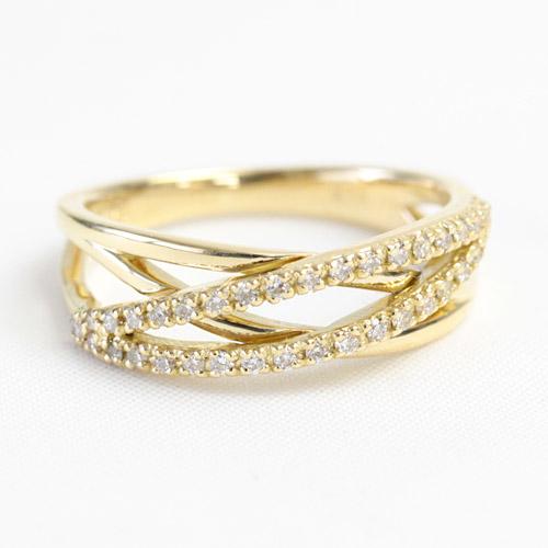 K18 リング ダイヤモンド リング 0.18ct 36石 18金 ピンクゴールド イエローゴールド ※文字入れ不可