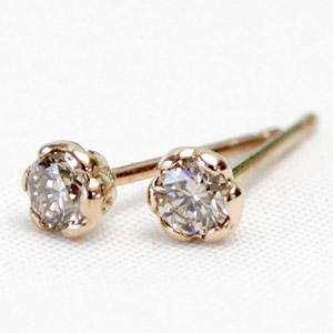 K18 シャンパンカラー ブラウンダイヤ ピアス 0.2ct ダイヤモンドピアス ダイヤ ピアス スタッドピアス 一粒ダイヤ ゴールドピアス <フラワーハートデザイン> 結婚記念日 誕生日 プレゼントに