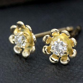 フラワーデザイン ダイヤモンド ピアス 0.1ct ホワイトゴールド・イエローゴールド・ピンクゴールド