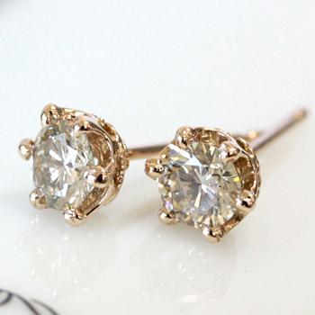 K18 SIクラス品質 シャンパン ブラウン ダイヤモンド 0.5ct ピアス <クラウンデザイン>