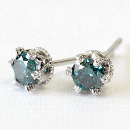 K18 SIクラス品質 ブルーダイヤモンド 0.3ct ピアス ブルーダイヤ <クラウンデザイン>