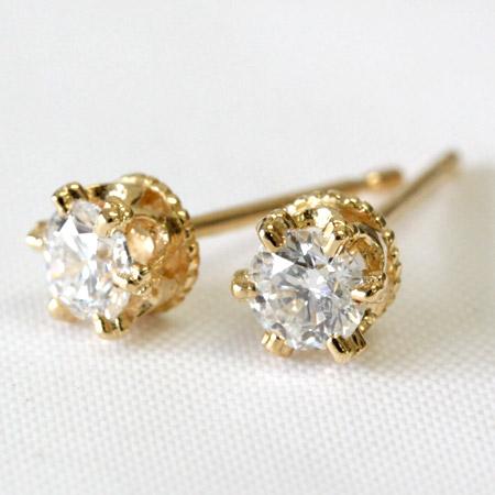 K18 輝き抜群! SIクラス品質 ダイヤモンド 0.3ct ピアス ダイヤ <クラウンデザイン> およそF~Gカラー、SIクラス、GOODメイク品質