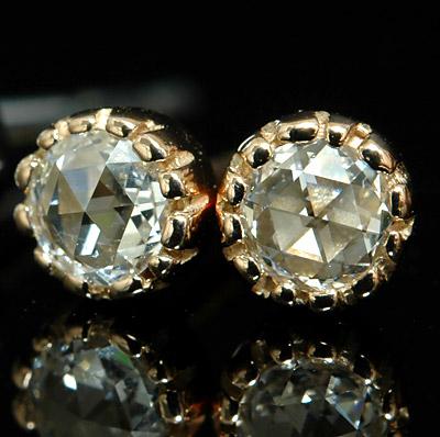 K18 ミル打ち ローズカット ダイヤモンド ピアス 3.0mm アンティーク ダイアモンドピアス ダイヤ ピアス 一粒ダイヤ 両耳用