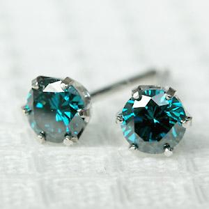SI~VSクラス ブルー ダイヤモンド ピアス0.3ct ホワイトゴールド・ピンクゴールド・プラチナ 嬉しいボリューム感ブルー ダイヤ ピアス【あす楽対応】