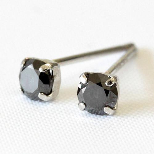プラチナ900 ブラックダイヤモンド ピアス 0.2ct ダイヤ ピアス
