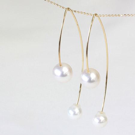 アコヤパール アメリカンピアス フックピアス あこや本真珠 8.0-8.5mm K18