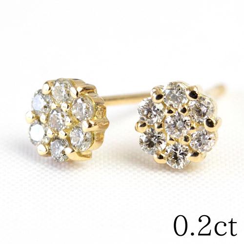 K18 ダイヤモンド ピアス 0.2ct SIクラス ゴールドピアス お花 フラワー ダイヤピアス ダイアモンド 結婚記念日 誕生日 プレゼントに