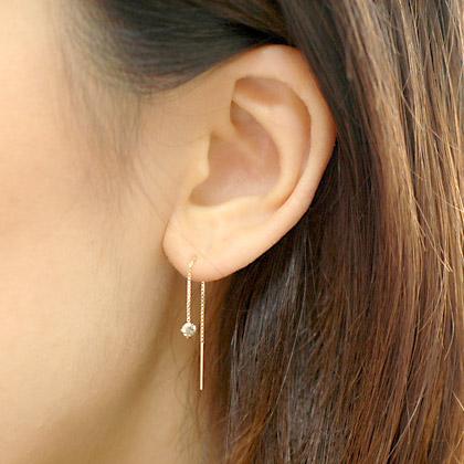 専門店 人気の定番 プレゼントにもおすすめ アメリカンピアス K18 ブラウンダイヤモンドアメリカンチェーンピアス0.2ct