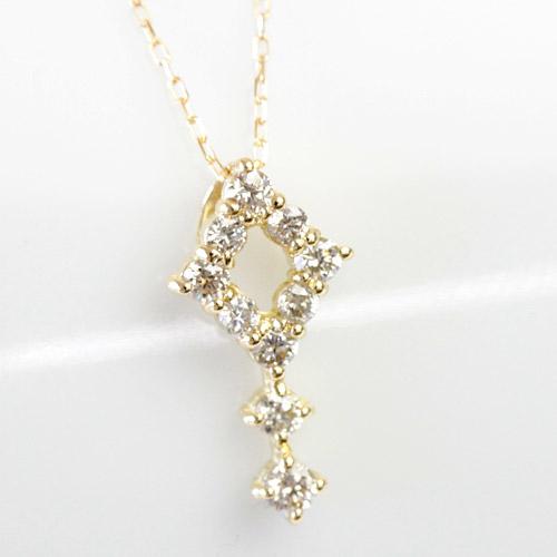 ブラウンダイヤ シャンパンカラー テンポイント K18 0.2ct 菱形 ダイヤネックレス ネックレス