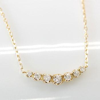 グラデーションダイヤモンドがリッチにデコルテを飾る‥ K18 グラデーション ダイヤ ネックレス0.2ct