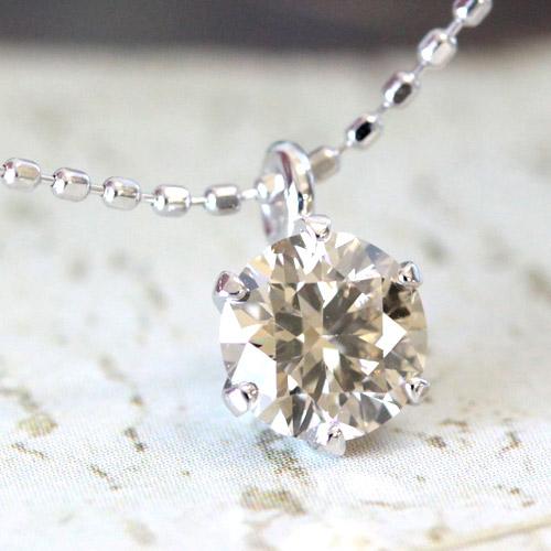 美しい天然カラーが魅力!SIクラスアップ品質 K18 シャンパンブラウン ダイヤモンド 0.5ct ペンダント ネックレス 【一粒】