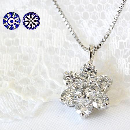 プラチナ H&C ダイヤモンド 0.5ct ペンダント ネックレス【第三者機関鑑別カード付】【輝き厳選! ハート&キューピッド】