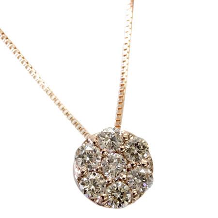 K18 セブンストーン シャンパンブラウン ダイヤモンド 0.32ct ペンダント ネックレス