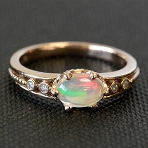 虹色の魅惑的な煌き‥K18 18金 リング エチオピア産 オパール リング イエローゴールド・ピンクゴールド※ホワイトゴールドでは作成不可