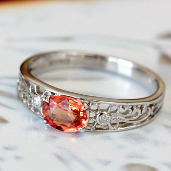 K18 18金 リング オレンジ サファイヤ × ダイヤモンド リング 9月の誕生石 サファイア