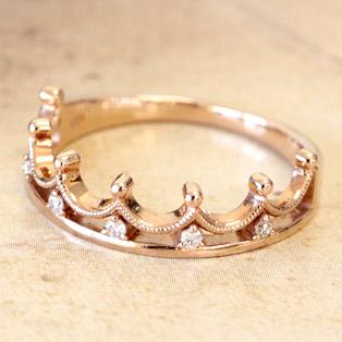 女性の憧れティアラデザイン ダイヤモンド リング0.05ctホワイトゴールド・イエローゴールド・ピンクゴールド【エクセレンテマンスリーコレクション】