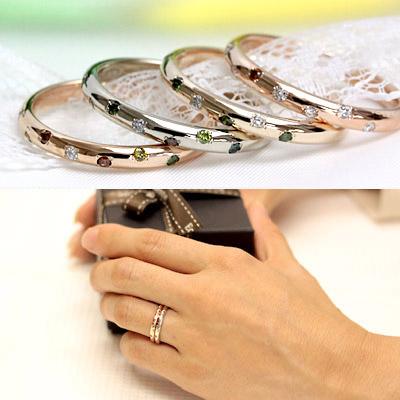 K10 セミオーダーダイヤモンドリング ダイヤのカラーも配置もお好みでどうぞ♪ 【文字入れ不可】