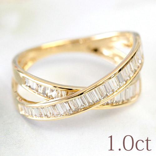バゲットカット ダイヤモンド リング 1ct ダイヤ リング ホワイトゴールド・ピンクゴールド・イエローゴールド K18 18金 リング SIクラス品質 1.0ct 1カラット 【文字入れ不可】