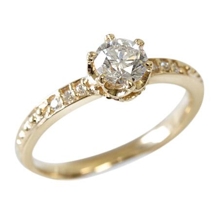 K18 18金 リング ダイヤモンド リング 0.5ct <クラウンデザイン> 【Hカラー、SI2、GOOD】【中央宝石研究所ソーティング付】 K18 18金 リング ピンクゴールド・ホワイトゴールド・イエローゴールド