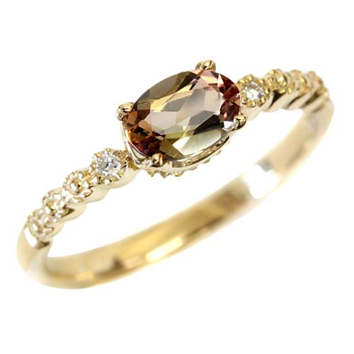 アンダリュサイト 4.0×6.0サイズ × ダイヤモンド リング アンダルサイトK18 18金 リング ピンクゴールド・ホワイトゴールド・イエローゴールド