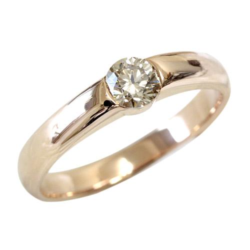 贅沢な輝き シャンパンブラウン ダイヤモンド リング 0.3ctSIクラスアップ品質 【ランキング1位獲得】【ダイヤ リング】【指輪】【一粒ダイヤ】