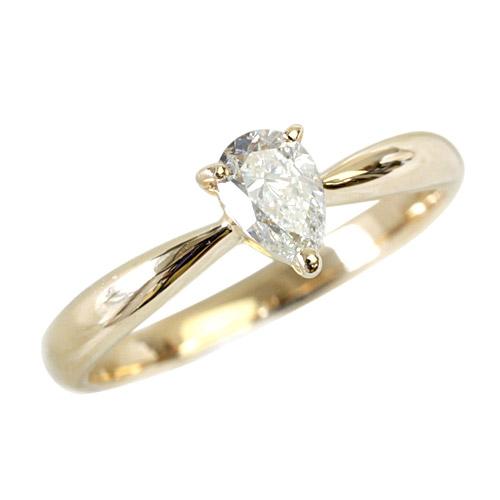 ペアシェイプカット ダイヤモンドリング 0.3ct K18 18金 リングYG 【一点限り】