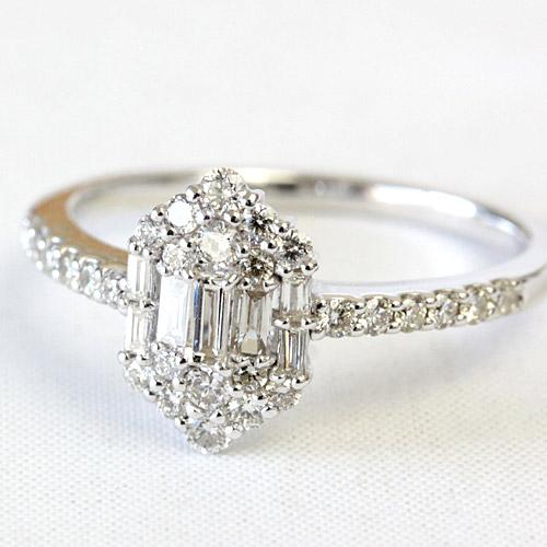 ダイヤモンド リング ダイヤ リング 0.5ct 35石 バゲットカットを使った品の良い仕上がりのダイヤモンドリング ホワイトゴールド・ピンクゴールド・イエローゴールド K18 18金 リング SIクラス品質 【文字入れ不可】