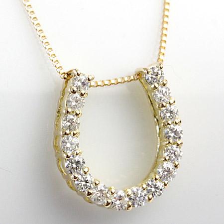 K18 H&C ダイヤモンド ホースシュー (馬蹄) ネックレス 0.3ct