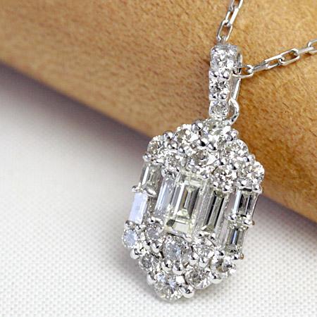 ダイヤモンド ネックレス ダイヤ ネックレス 0.5ct 26石 バゲットカット ペンダントネックレス ホワイトゴールド・ピンクゴールド・イエローゴールド K18 SIクラス品質 45cm