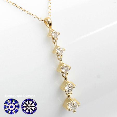グラデーション ダイヤモンド ネックレス H&C 0.2ct 5石 ペンダントネックレス K18 SIクラス品質