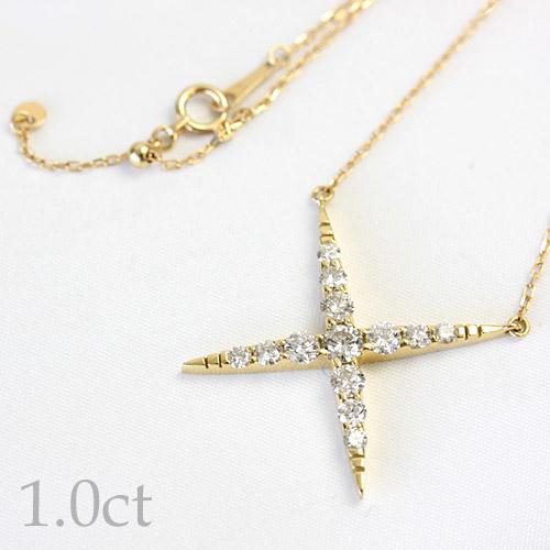 ダイヤモンド 1.0ct ペンダント ネックレス 45cm K18 ホワイトゴールド ピンクゴールド イエローゴールド