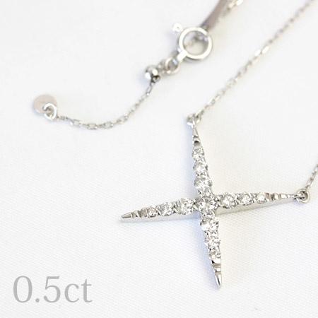 ダイヤモンド 0.5ct ペンダント ネックレス 45cm K18 ホワイトゴールド ピンクゴールド イエローゴールド