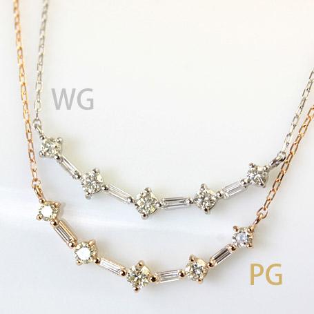 ダイヤモンド 0.3ct ネックレス K18 ホワイトゴールド ピンクゴールド イエローゴールド