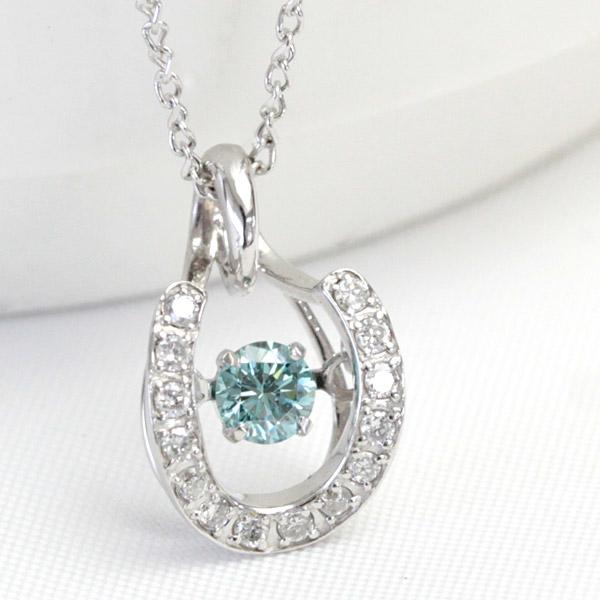 K18WG 揺れる ダイヤモンド ネックレス 0.23ct ダンシングストーン ダイアモンド アイスブルーダイヤモンド馬蹄 ホースシュー 誕生日プレゼント 女性 結婚記念日 【あす楽対応】