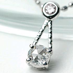 K18 ローズカット ダイヤモンド × ピンク ダイヤモンド ペンダント ネックレス