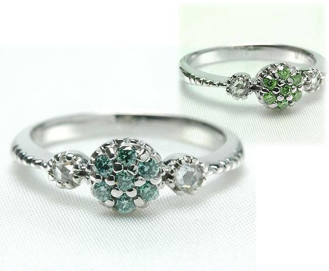 K18 18金 リング カラー ダイヤモンド & ローズカット ダイヤモンド リング