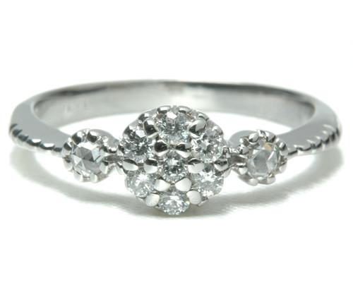 K18 18金 リング ダイヤモンド&ローズカットダイヤリング