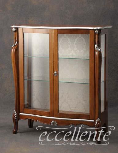 TV-5455NO イタリア製 2ドアグラスキューリオLow ウォールナット+シルバー 象嵌
