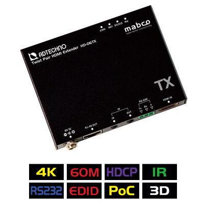 【お取り寄せ商品】【送料無料】ADTECHNO エーディテクノ 4K UHD@60、1080p60、HDCP2.2に対応!HDMI信号を非圧縮で伝送可能なHDBaseT HDMIエクステンダーTx 送信機 HD-06TX HD06TX