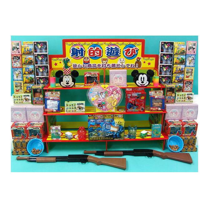 【送料無料】ザ・模擬店ツール お祭り・イベントに! なんと!景品100名様分とおもちゃ射的銃・コルク・おわん・ディスプレイ台をセットに! 射的簡易セット100名様用 (2019)