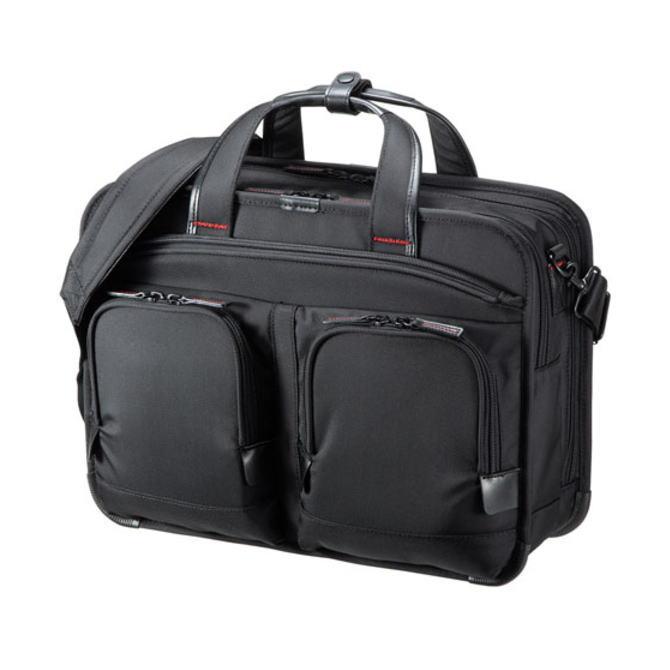 SANWA SUPPLY サンワサプライ しっかり自立し高級感のある仕上げのハイエンドビジネスモデル 14インチワイド・ダブルルーム BAG-EXE11 BAGEXE11(ブラック)